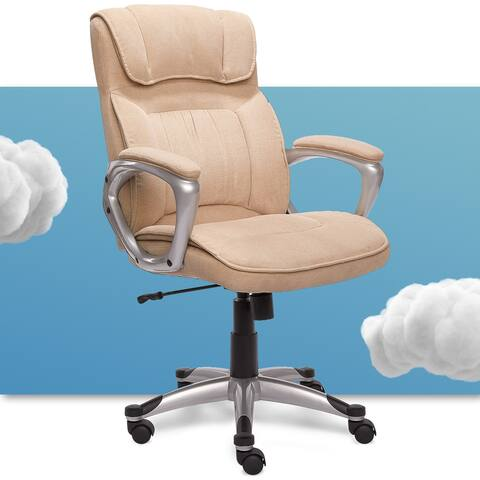 Serta Executive Metallic Finish Fawn Tan Linen Office Chair