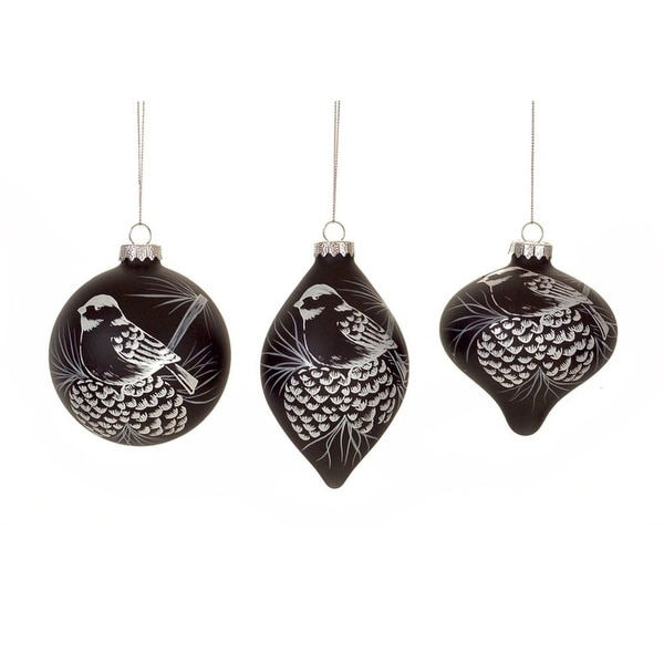 Pack of 6 Unique Bird Christmas Ball, Drop and Onion Glass Ornament 5""