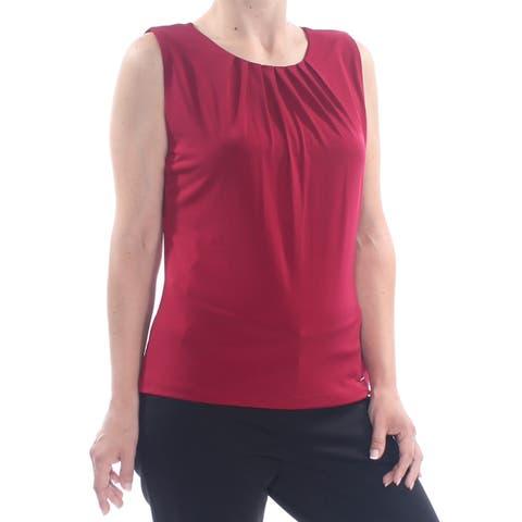 CALVIN KLEIN Womens Red Ruffled Heather Sleeveless Top Size: S