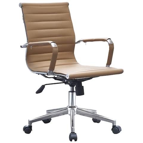 Office Chair Mid Back Tan Ergonomic Adjustable Height Swivel With Padded Arms Wheels Work Executive Task
