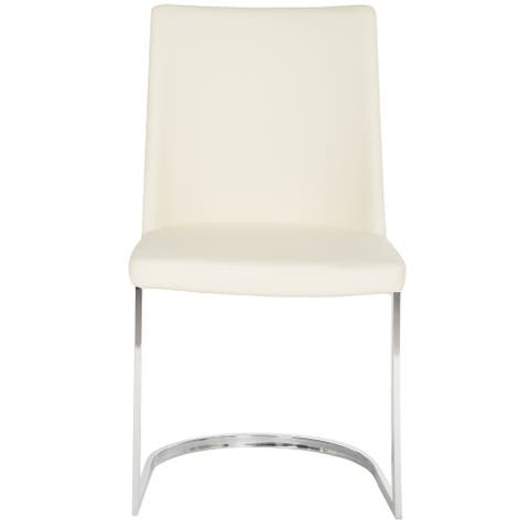 "Safavieh Dining Mid-Century Modern Parkston White Dining Chairs (Set of 2) - 18.5"" x 22.3"" x 33.5"""