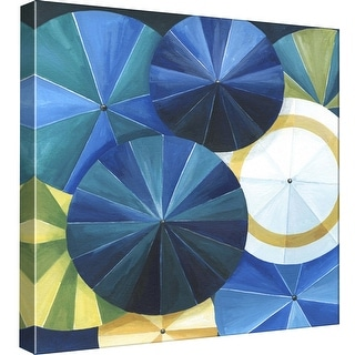 """PTM Images 9-99065  PTM Canvas Collection 12"""" x 12"""" - """"Blue Umbrella"""" Giclee Patterns and Designs Art Print on Canvas"""