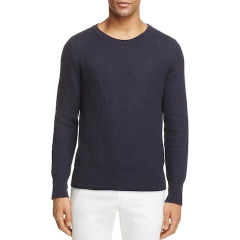 Eidos Mens Mouline Crew Neck Honeycone Knit Sweater Small Navy - Made In Italy
