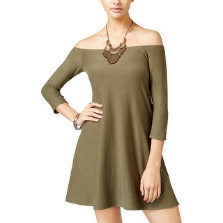 Planet Gold Womens Juniors Shirtdress Casual Off-The-Shoulder