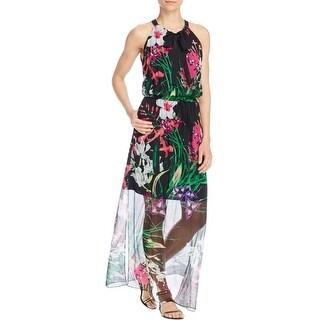 Elie Tahari Womens Cayla Maxi Dress Silk Floral Print