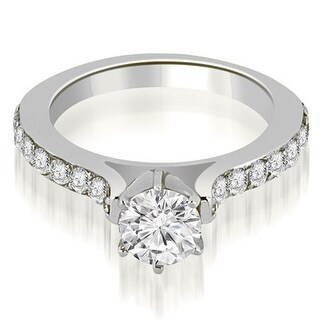 1.05 CT.TW Cathedral Round Cut Diamond Engagement Ring - White H-I