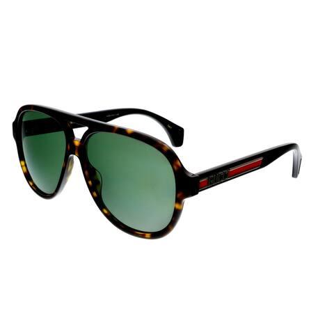 Gucci GG0463S 003 Havana/Black Pilot Gucci Stripe Sunglasses - 58-13-150