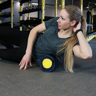 CASL Brands Self-Guided 18-Inch Foam Roller with 9 Printed Exercise Instructions - Black