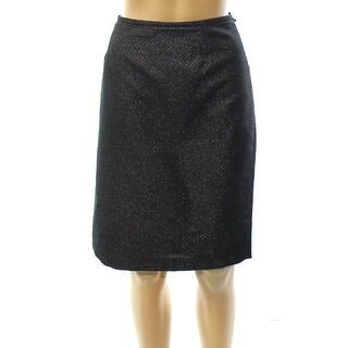 Calvin Klein NEW Black Womens Size 4P Petite Metallic Straight Skirt