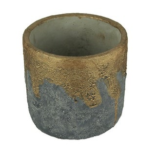 Distressed Black Metallic Copper Round Concrete Planter - 4.75 X 5 X 5 inches