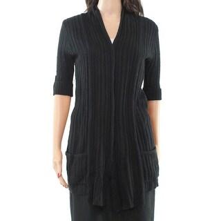 Love by Design NEW Black Women's Size Medium M Ribbed Cardigan Sweater