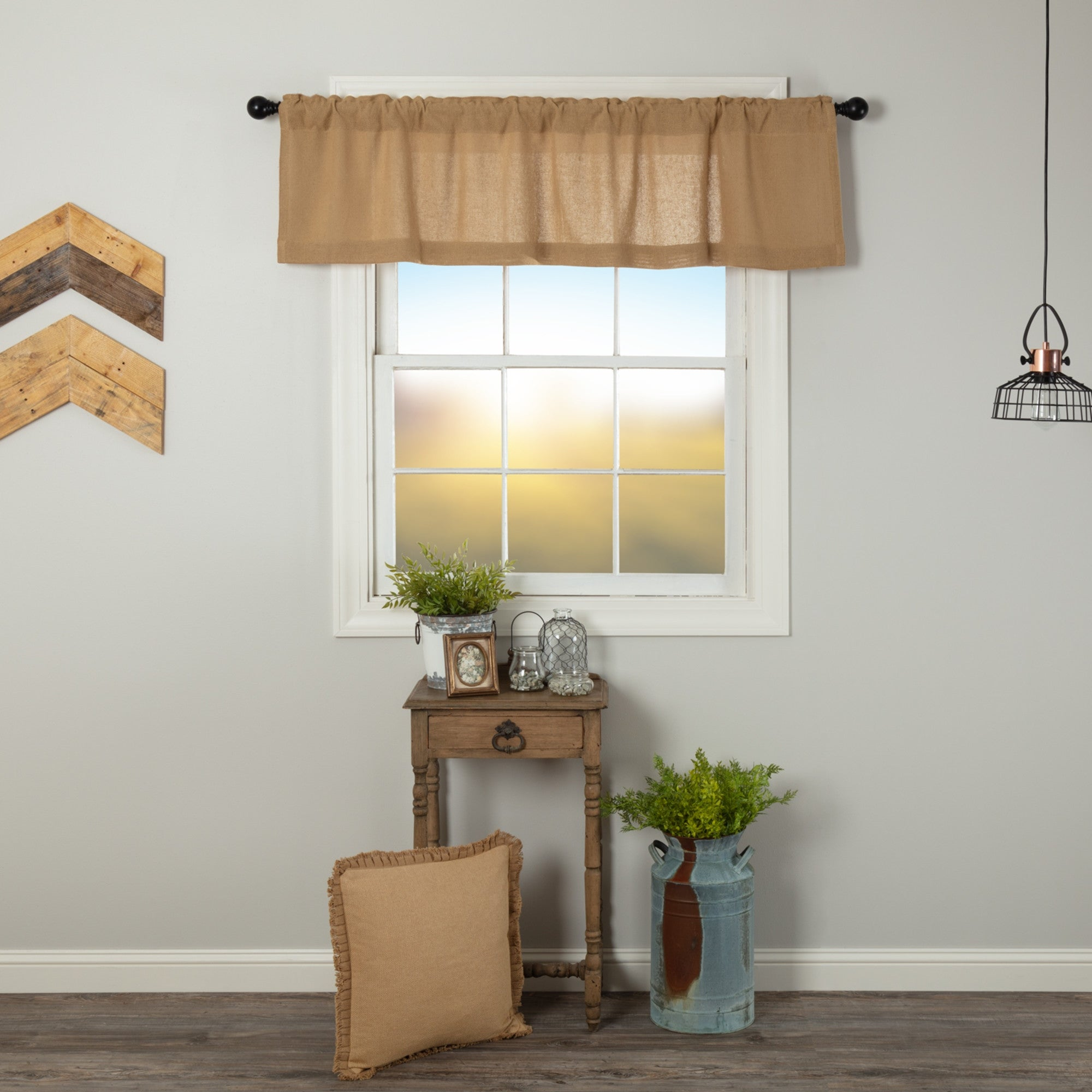 Farmhouse Kitchen Curtains Vhc Cotton Burlap Valance Rod Pocket Solid Color On Sale Overstock 17925685