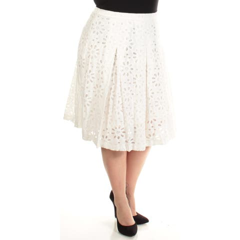 TOMMY HILFIGER Womens White Lace Below The Knee A-Line Skirt Size: 2