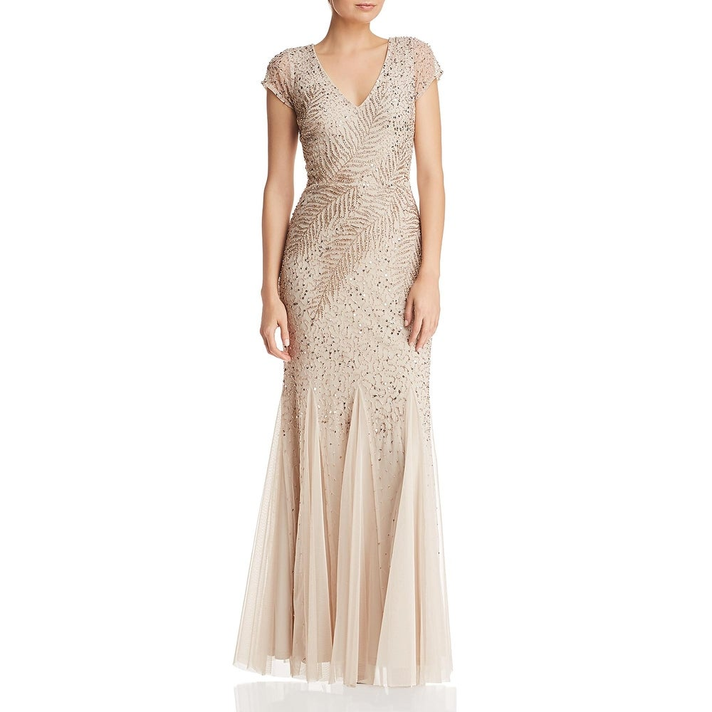 Adrianna Papell Womens Evening Dress Beaded V-Neck by  Best Design