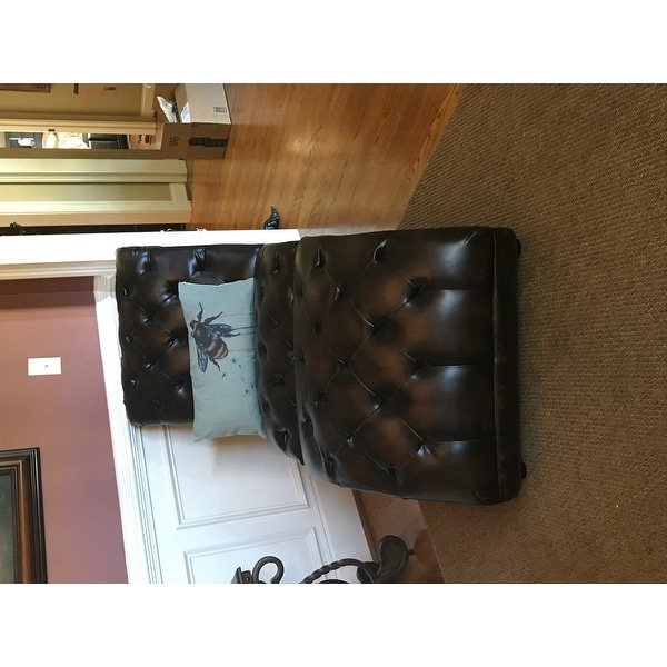 abbyson encore brown tufted leather chaise lounge with ottoman free shipping today