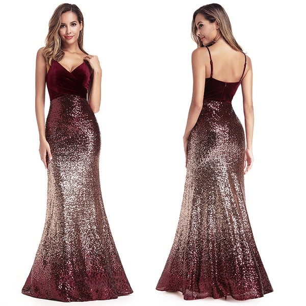 Ever-Pretty Women/'s V-Neck Sleeveless Sequins Bodycon Mermaid Prom Dresses Gowns