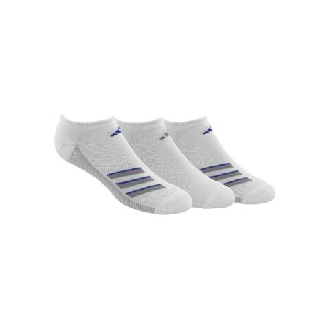 Adidas Mens SuperLite No Show Socks 3 Pack Cushioned - White/Light Onix/Hi-Res Blue - 6-12
