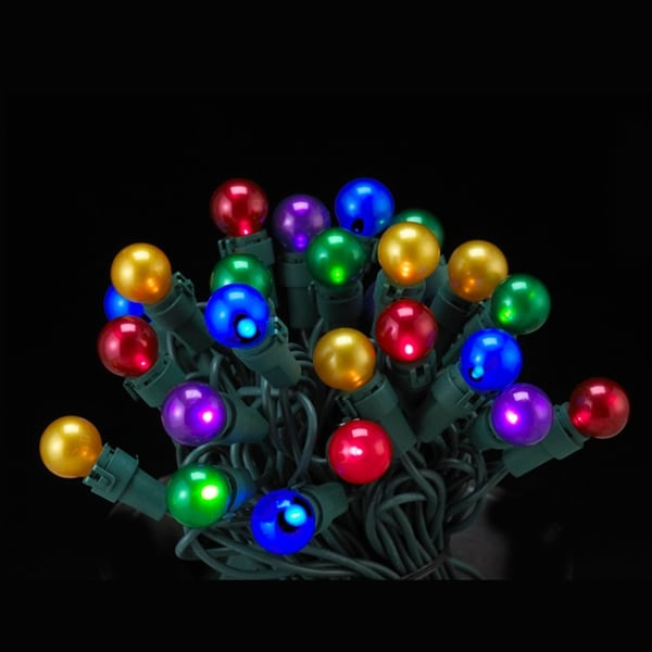 Set of 50 LED Multi-Color Pearl Glass G15 Berry Christmas Lights - Green Wire