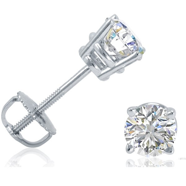 IGI Certified 3/4ct tw Diamond Stud Earrings in 14K White Gold with Screw Backs