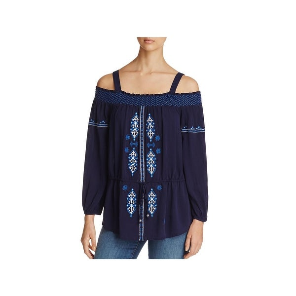 Cupio Womens Casual Top Embroidered Off-the-Shoulder