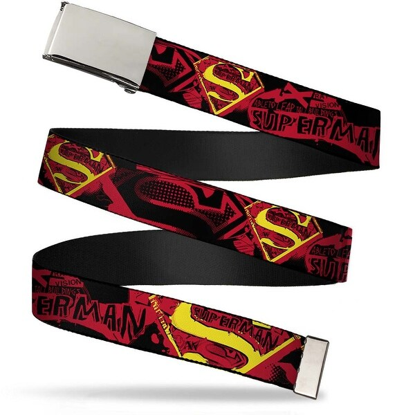 Blank Chrome Buckle Superman X Ray Vision Black Red Yellow Webbing Web Belt - S