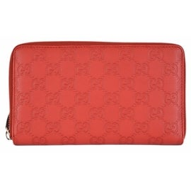 New Gucci 321117 XL Red GG Guccissima Leather Zip Around Travel Wallet Clutch