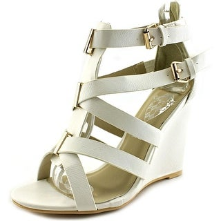 Jacobies Jessica4 Women Open Toe Synthetic White Wedge Sandal