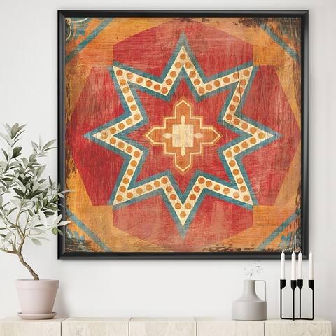 Designart 'Moroccan Orange Tiles Collage I' Bohemian Chic Premium Framed Art Print
