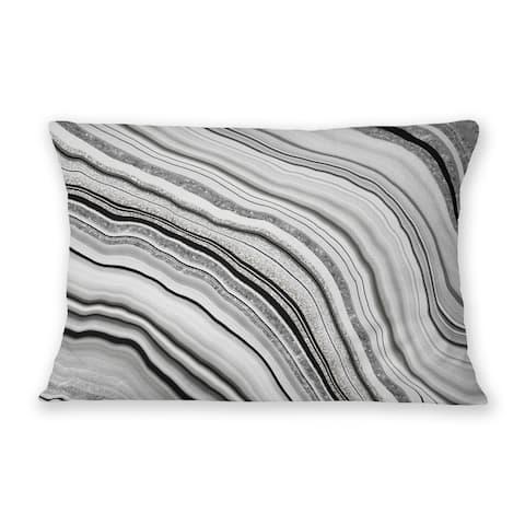 AGATE SILVER Indoor Outdoor Lumbar Pillow By Marina Gutierrez