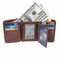 Trifold Leather Wallet For Man Rfid Blocking Wallet With Double Id Window
