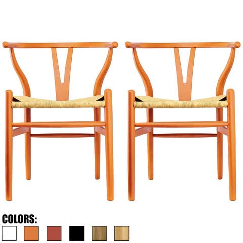 Set of 2 Orange Modern Wood Dining Chair With Y Back Arm Armchair Hemp Seat For Home Restaurant Office Bedroom Kitchen