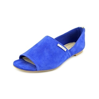 Calvin Klein Eve Women  Open-Toe Suede Blue Flats