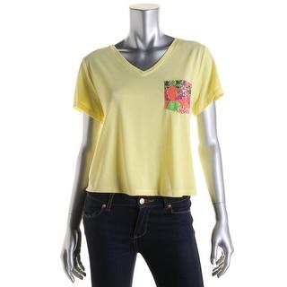 Rebellious One Womens Juniors Floral Print Short Sleeves T-Shirt - L