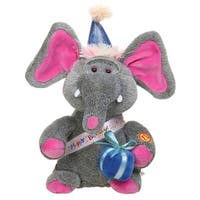 Singing Elephant - Happy Birthday Song Plush Stuffed Animal - Gray - 11 in.