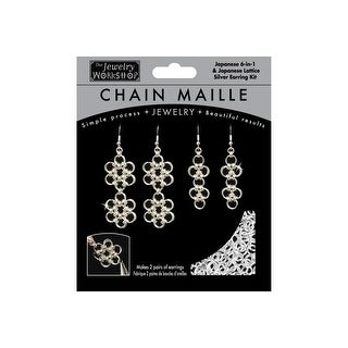 Chain Maille Jewelry Kit-Japanese 6-In-1 & Lattice Earrings-Silvr