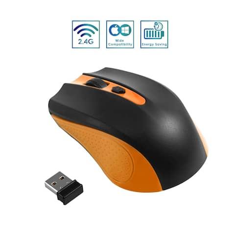 2.4G Wireless Nano USB Receiver Cordless Ergonomic Mouse 4 Button, Orange/Black