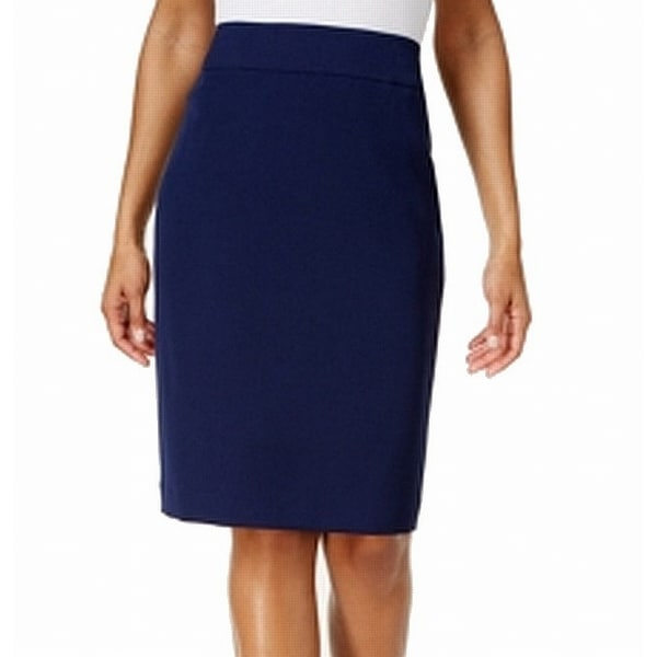 c96a9c0738 Shop Kasper Navy Women's Petite Straight Pencil Skirt - Free Shipping On  Orders Over $45 - Overstock - 26983687