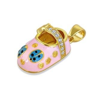 Bling Jewelry Pink Enamel Ladybug CZ Baby Shoe Pendant Gold Plated Silver