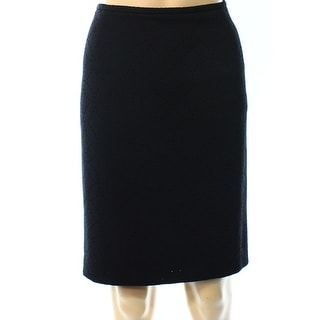 Calvin Klein NEW Black Knit Jacquard 10P Petite Straight Pencil Skirt