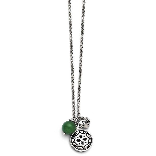 Chisel Stainless Steel Antiqued with 2in extension Synthetic Jade Necklace (2 mm) - 20 in