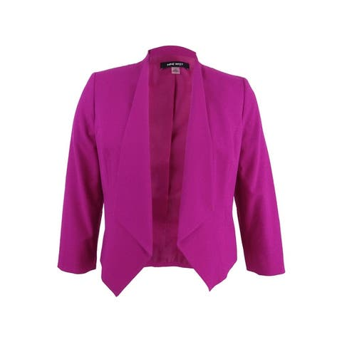 Nine West Women's Plus Size Star-Collar Blazer - Magenta