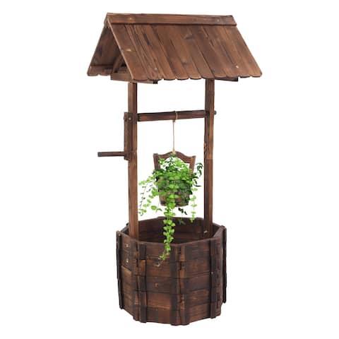Outdoor Decoration Wooden Wishing Well Flowerpot