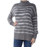 TWO Womens Gray Striped Long Sleeve Turtle Neck Sweater  Size: M