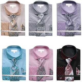 Men's Tone on Tone Polka Dot French Cuff Shirts with Cuff Links