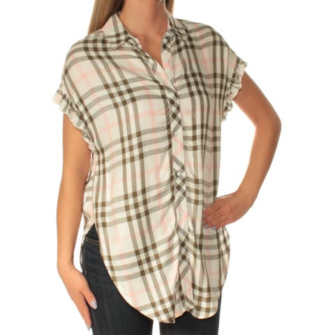 BUFFALO Womens Green Plaid Short Sleeve Collared Button Up Top Size: XS