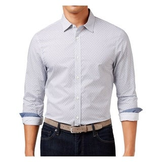 Michael Kors NEW White Birdseye Print Mens Large L Button Down Shirt