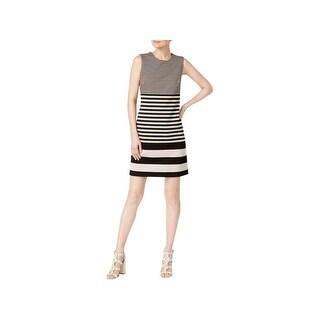 Calvin Klein Womens Wear to Work Dress Striped Sleeveless