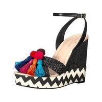 Kate Spade Womens Delancey Wedge Sandals Fringe Pom Pom