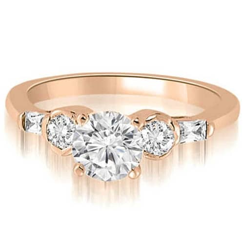 1.35 cttw. 14K Rose Gold Round And Baguette Cut Diamond Engagement Ring