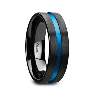 Thorsten Flat Brushed Finish Black Ceramic Men's Wedding Ring with Blue Grooved Center - 8mm WESTLEY